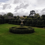 The Tudor chess set and astrolabe in Hever's Tudor gardens