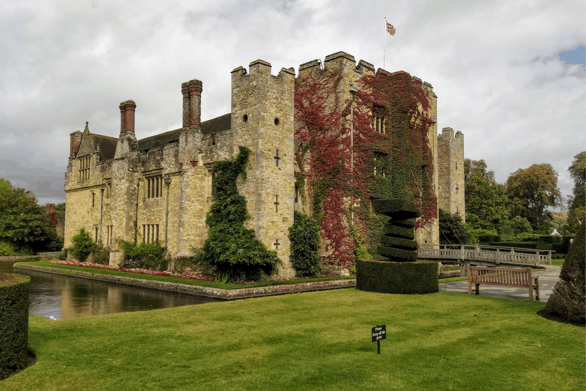 The house entrance and moat at Hever Castle