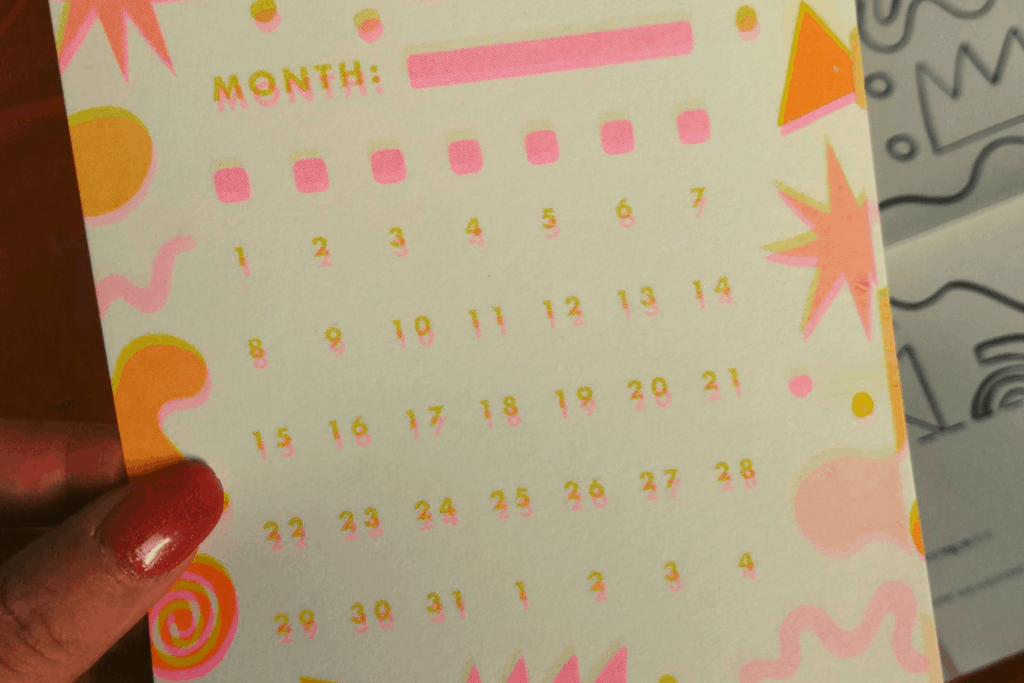 The undated calendar journal card from the October 2019 Papergang box