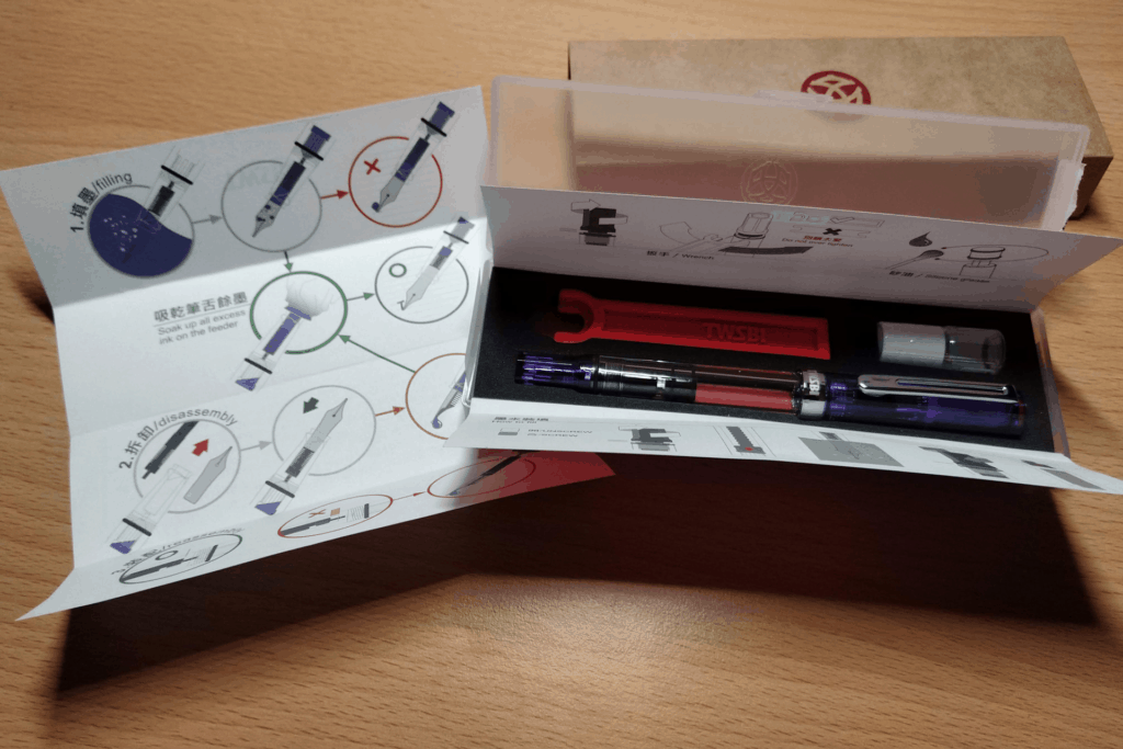 Transparent Purple TWSBI Eco fountain pen box and cleaning kit