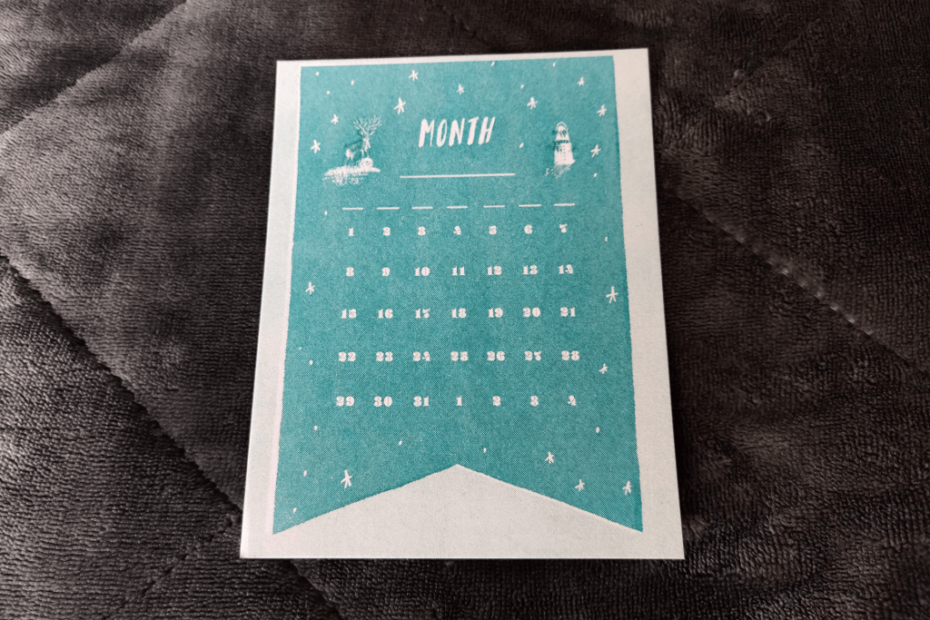 Calendar insert from the Papergang November 2019 stationery box