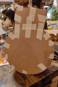 The Christmas pinata in progress