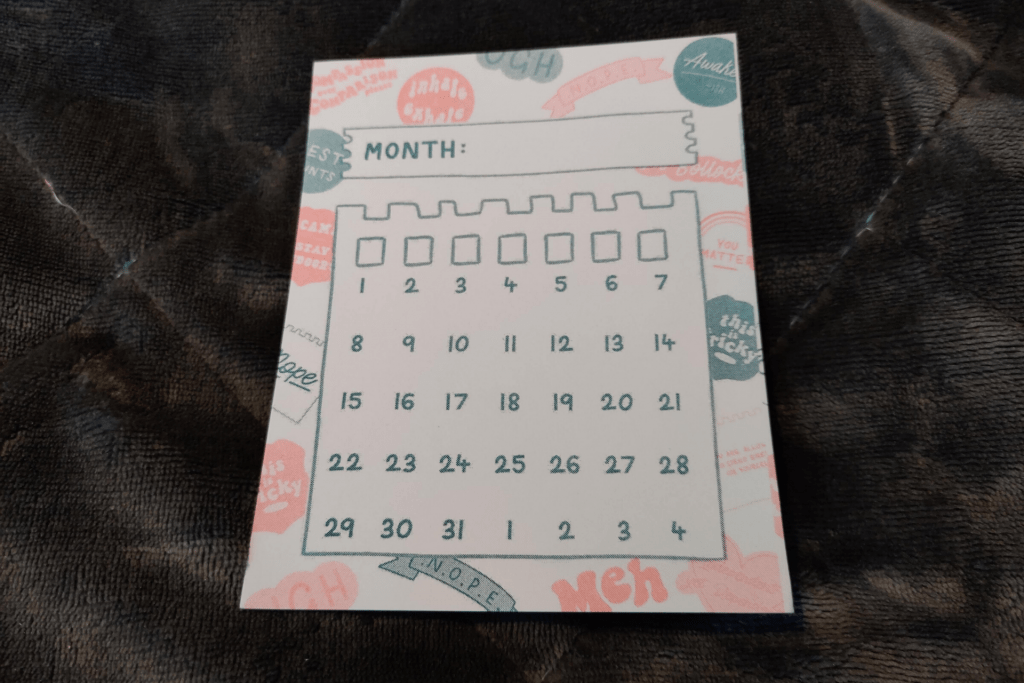 The calendar and journal card from the February 2020 Papergang subscription box