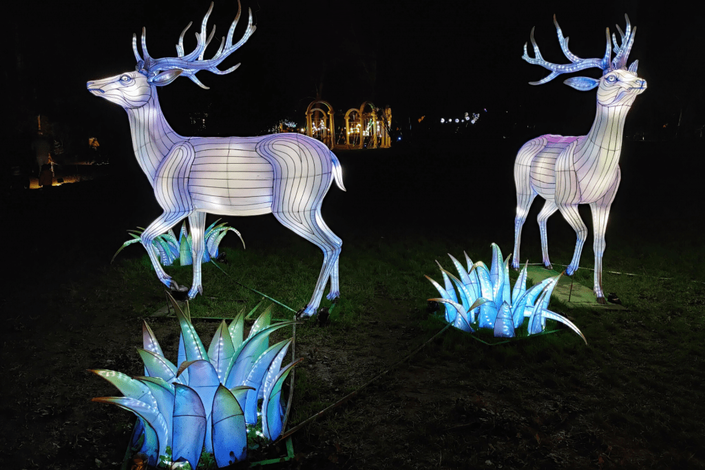 Two stag lanterns at the Lightopia festival at Chiswick House