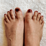 My feet after my pedicure at Cecily