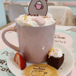 My hot chocolate at the Pusheen Cafe