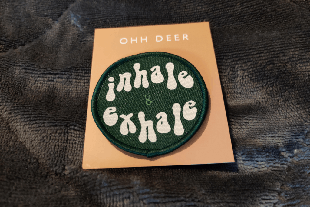 The woven 'inhale & exhale' patch from the February 2020 Papergang subscription box