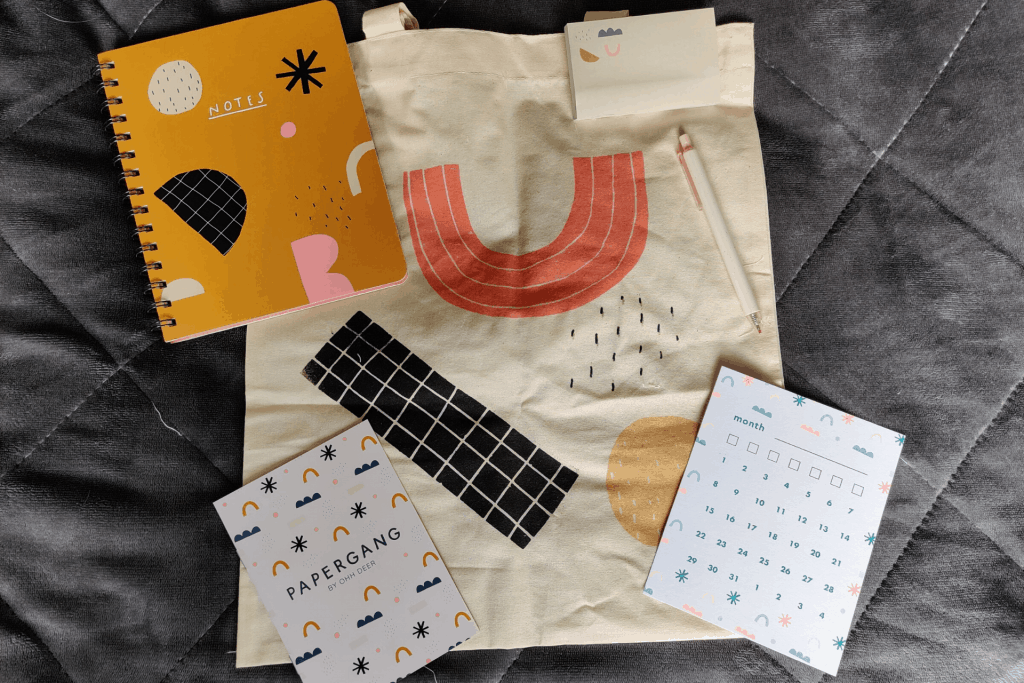 Contents of the March 2020 box from Papergang by Ohh Deer