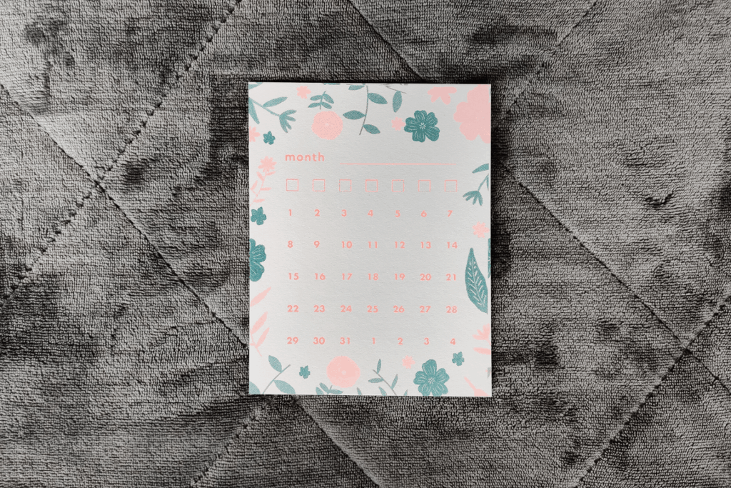 Calendar journal card from the April 2020 Papergang box