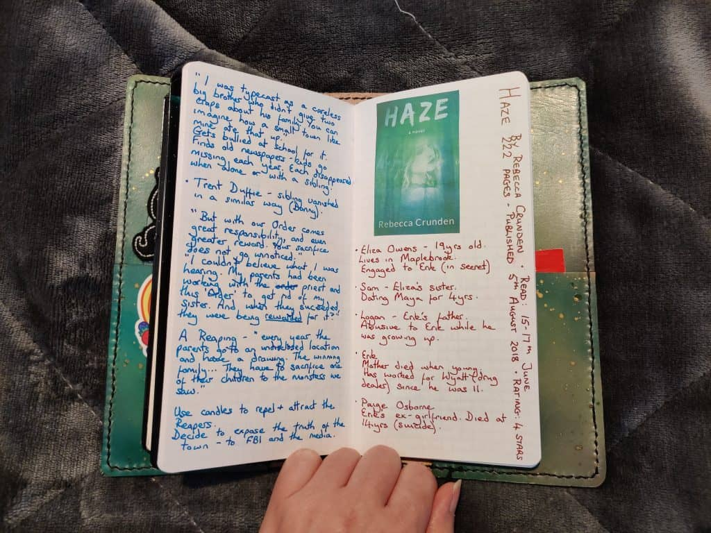 The page for Haze by Rebecca Crunden in my book journal