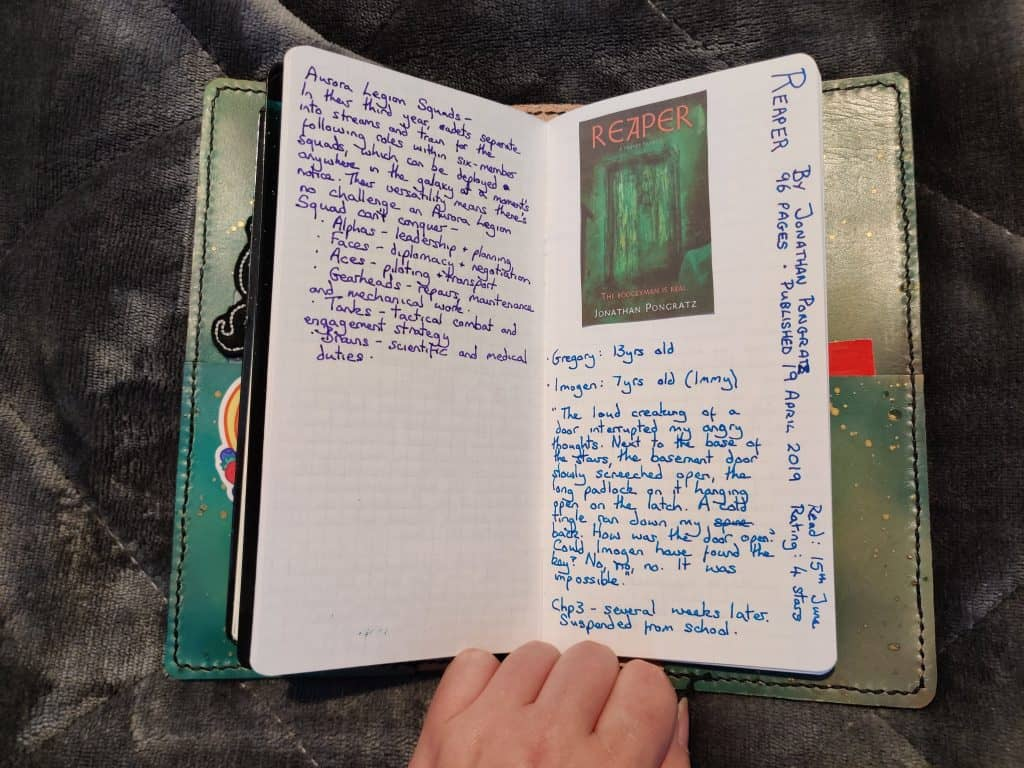 The page for Reaper by Jonathan Pongratz in my book journal