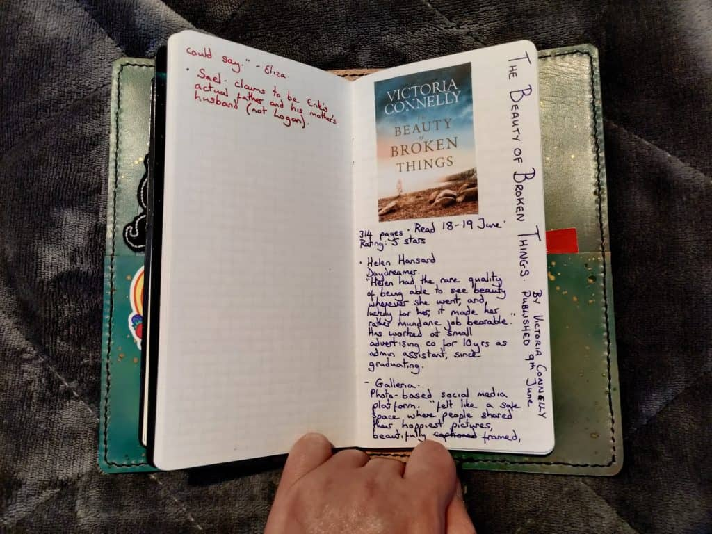 The page for The Beauty of Broken Things by Victoria Connelly in my book journal
