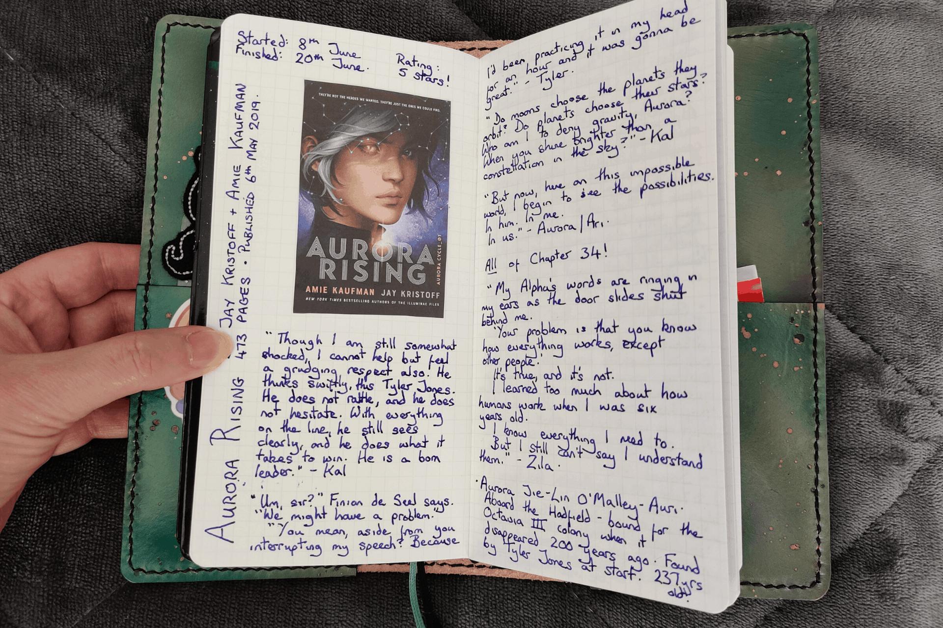 My Book Journal in my Hobonichi Weeks notebook