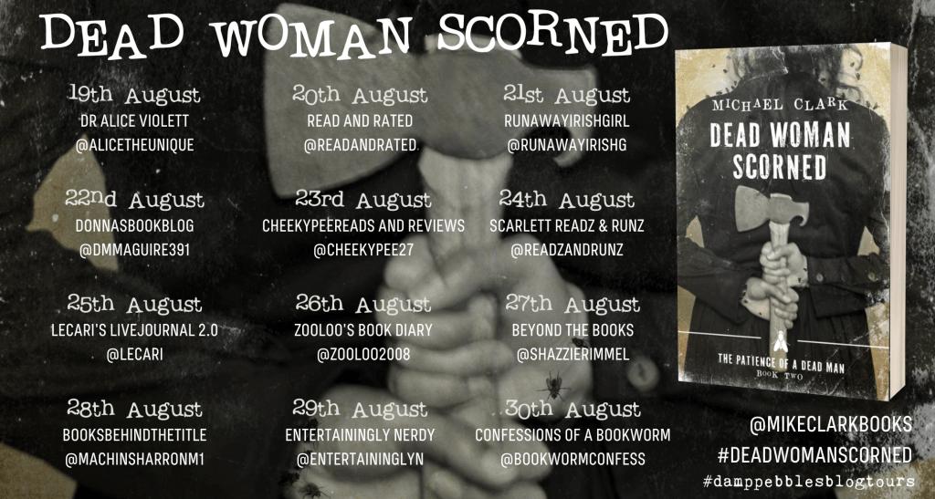 The blog tour banner for Dead Woman Scorned