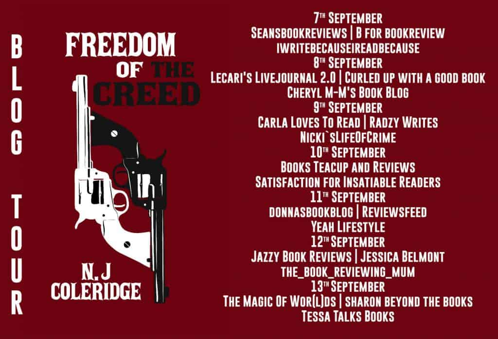 Blog tour banner for the Freedom of the Creed, organised by Rachel's Random Resources