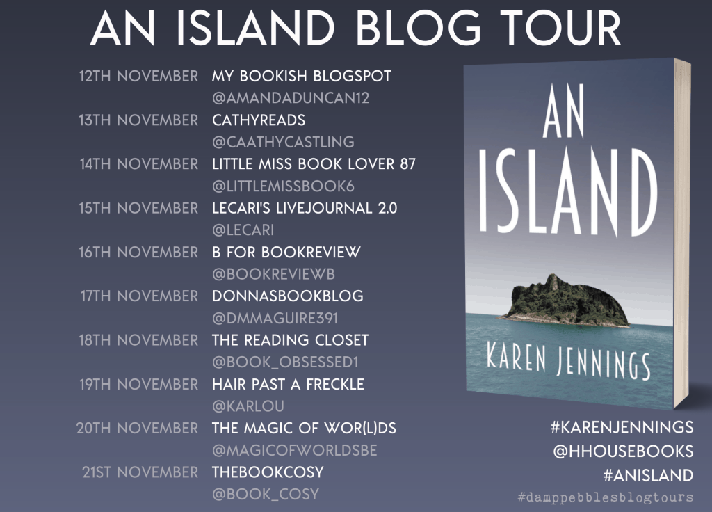 The blog tour banner for An Island