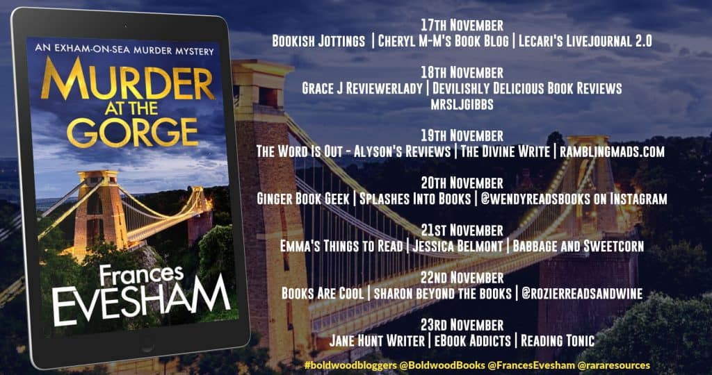 Blog tour banner for the Murder at the Gorge tour