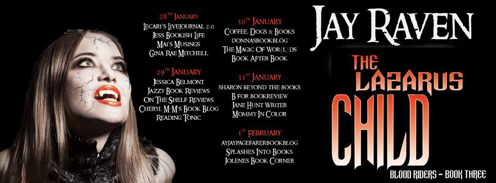 The blog tour banner for The Lazarus Child by Jay Raven