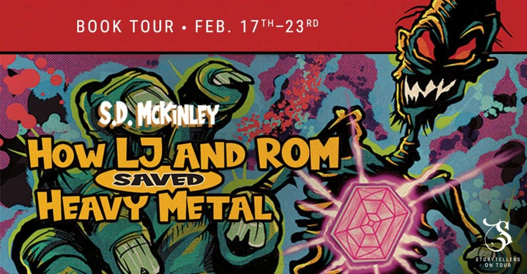 Blog tour banner for How LJ and Rom Saved Heavy Metal