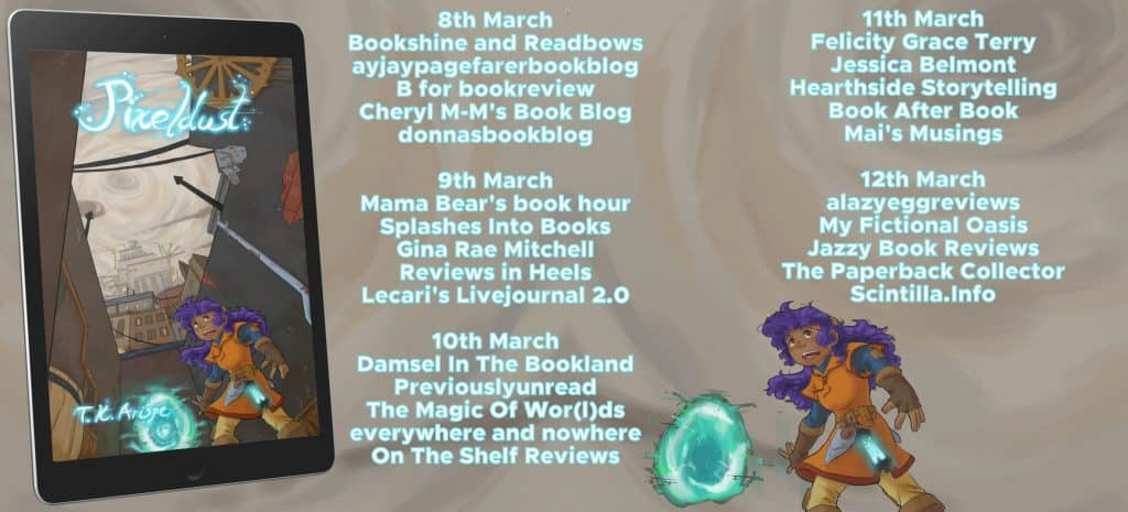 The blog tour banner for Pixeldust
