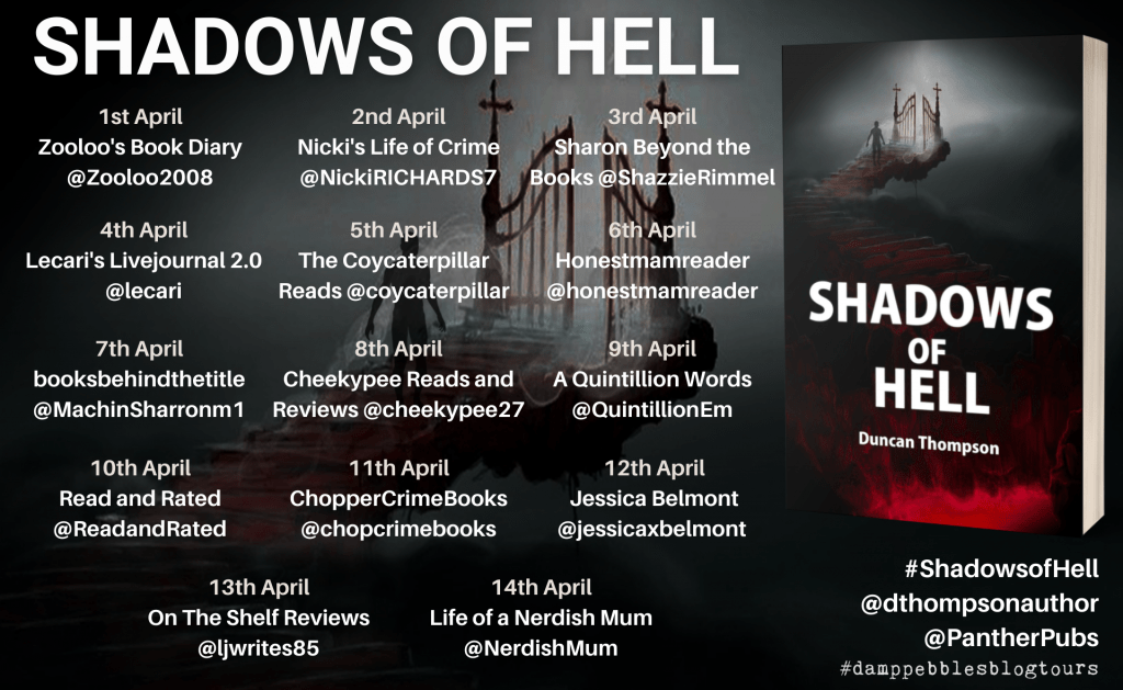 The blog tour banner for Shadows of Hell
