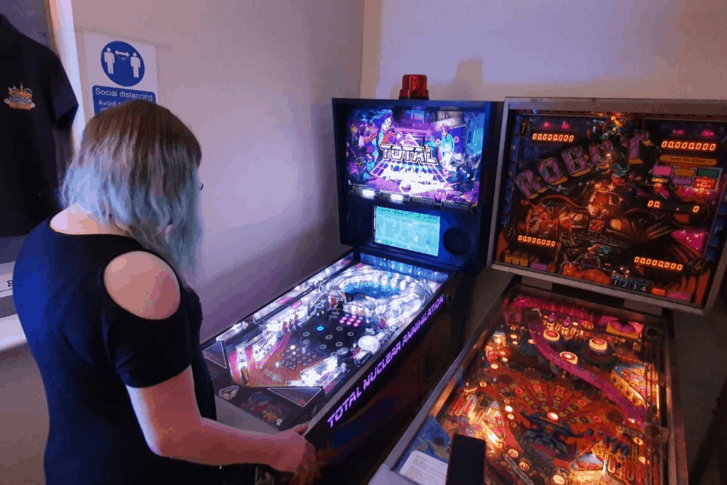 Claire playing Total Nuclear Annihilation at Flip Out London