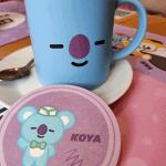 Koya Caramel Latte and coaster at ARTBOX Cafe in Brighton
