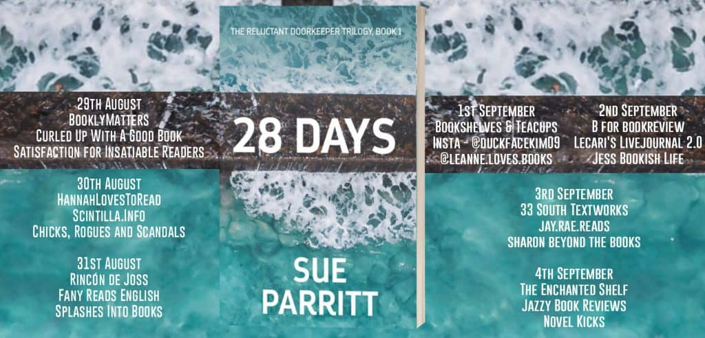 The blog tour banner for 28 Days by Sue Parritt