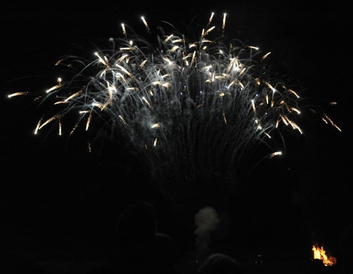Firework display at Wimpole Hall in Cambridgeshire