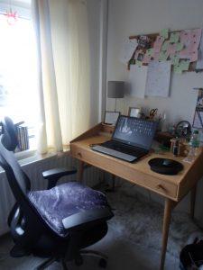 Terry Tyler's writing desk in her living room